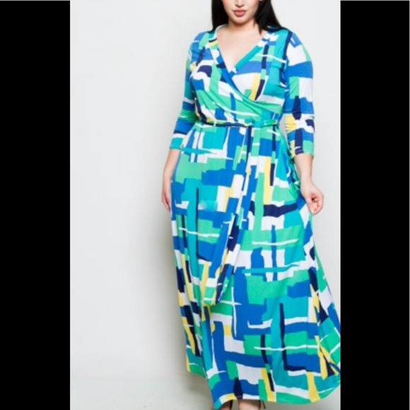 2a07f693842 New Plus Size Spring Faux Wrap Maxi Dress